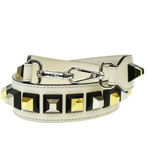 FENDI Logo Studded Shoulder Strap Leather White Bl